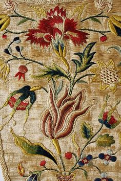 Stomacher Date: Culture: German Medium: silk Dimensions: Length: 11 x 6 in. x cm) - Machine embroidery. Culture: German Medium: silk Gift of Ernest Schernikow, 1917 Silk Ribbon Embroidery French Knot Ribbon Embroidery New Designs via the Met, NYC Ah > Ch Jacobean Embroidery, Silk Ribbon Embroidery, Vintage Embroidery, Embroidery Art, Embroidery Stitches, Machine Embroidery, Embroidered Silk, Embroidery Designs, Embroidery Transfers