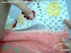 ▶ Como aplicar o barrado de croche na toalha - Aprendendo Crochê - YouTube