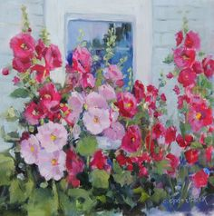 Hollyhocks   8 x 8 oil painting on Museum Gessobord  by Carolyn Opderbeck, Aritst
