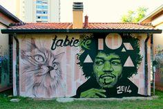 Street art in Castel Maggiore, Bologna, Italy, by artist Fabieke. Photo by Fabieke.
