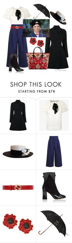 """Modern Mary Poppins"" by sarina-noel ❤ liked on Polyvore featuring Alaïa, philosophy, Chanel, TIBI, Gucci, Zac Posen, Kate Spade, Alexander McQueen and modern"