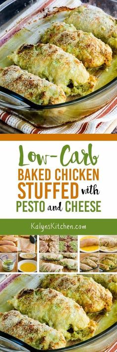Low-Carb Baked Chicken Stuffed with Pesto and Cheese is perfect when you need a low-carb meal to make for company, or something that's a treat just to make for yourself. This delicious chicken stuffed with pesto and cheese is also Keto, low-glycemic, gluten-free, and can be South Beach Diet friendly. [found on KalynsKitchen.com] #LowCarb #Keto #GlutenFree #LowCarbChicken #LowCarbBakedChicken #LowCarbStuffedChicken