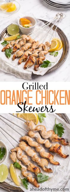 Nothing hits the spot quite right as flame-kissed skewers in the heat of summer. Add in a rich, citrus-based marinade to create delicious, juicy, grilled orange chicken skewers for dinner tonight! | aheadofthyme.com #chicken #skewers #kebabs #bbq #barbecue via @aheadofthyme