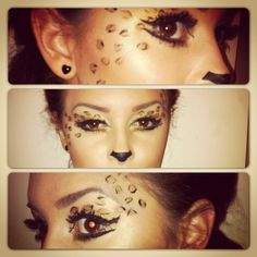 My Halloween cheetah makeup ! Cat Halloween Makeup, Cute Halloween Costumes, Halloween Nails, Halloween Make Up, Halloween Decorations, Fairy Costumes, Halloween Ideas, Cheetah Makeup, Fox Makeup