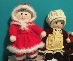 Hand knitted mother Santa doll and hand knitted grandmar doll made by me