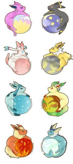 Eeveelutions by SeviYummy on deviantART << I still love Pokemon :)