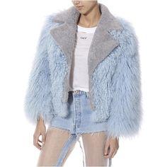 Biker Bomber Jacket ($425) ❤ liked on Polyvore featuring outerwear, jackets, blouson jacket, bomber style jacket, biker style jacket, blue jackets and print bomber jacket