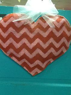 Burlap chevron heart door hanger by Burlapulous on Etsy, $27.00