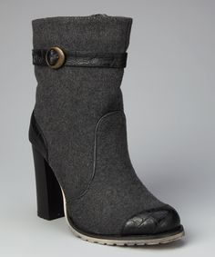 Gray Chunky Heel Ankle Boot