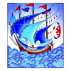 Galleon Panel dimensions can be applied to custom made panels… Turkish Art, Turkish Tiles, Ceramic Painting, Silk Painting, Tile Art, Mosaic Art, Pen Art, Clay Projects, Islamic Art