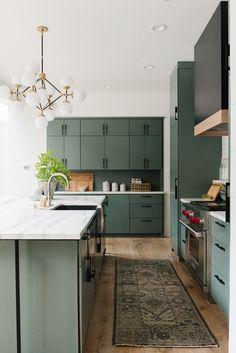 soft green kitchen cabinet color