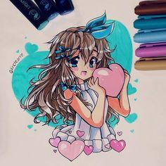 Adorable manga style illustration by @kiricheart using their Chameleon Pens! #mangagirl #animegirl #manga #anime #animedrawing #colour #color5 #colouring #coloring #drawing #illustration #pen #marker #alcoholmarkers #chameleonpens