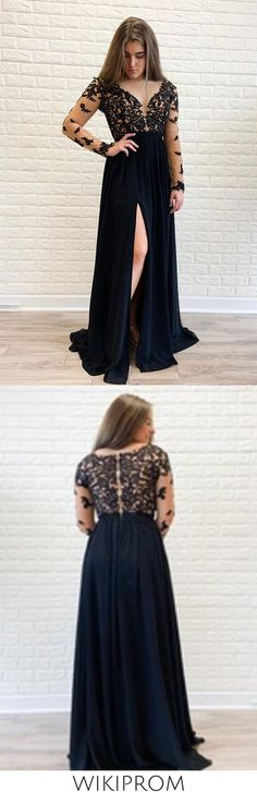 Long Sleeves Black Formal Dress High Slit Sexy Chiffon Long Prom Dress SWKPGNANEC5, This dress could be custom made, there are no extra cost to do custom size and color Classy Evening Gowns, Cheap Evening Dresses, Best Formal Dresses, Party Dresses With Sleeves, Tulle Ball Gown, Perfect Prom Dress, Applique Dress, Lace Dress, Chiffon