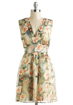 The Cloister I Get to You Dress - Green, Multi, Floral, A-line, V Neck, Short, Daytime Party, Sleeveless, Pleats