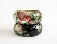 White wood bangle bracelet decoupage shabby chic by LENNYshop.