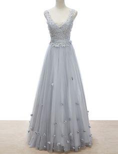 Formal Evening Dress A-line V-neck Floor-length Lace/Tulle Dress More Color – GBP £ 109.49
