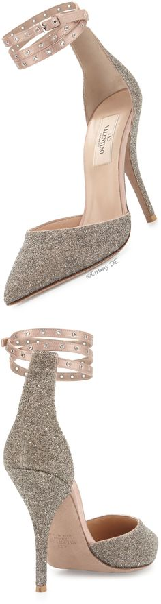 Emmy DE * Valentino Glitter Pointed-Toe Ankle-Wrap Pump