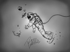 Bubbles ✨ THIS IS ACTUALLY MY FAVORITE THING IVE DRAWN IN AWILE Seriously I love it I had an idea to draw an astronaut underwater like he was a scuba diver and then I thought of making the bubbles into planets and this is where we ended up and I'm in love