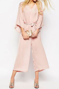 V-neck Self-tie Wide Leg Jumpsuit with 3/4 Length Sleeves