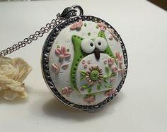 OOAK Owl Polymer Clay Applique Pendant by RainbowDayHappy on Etsy