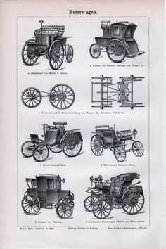 1897 Old Cars American Vehicle Daimler Morris Benz Darracq Antiq Engraving Print Fine Art Prints, Framed Prints, Canvas Prints, Lino Prints, Block Prints, Vintage Cars, Antique Cars, Automobile, Jaguar