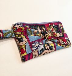 Wonder Woman Fabric Clutch Bag, Wristlet by HisBowTieHerHandbags on Etsy