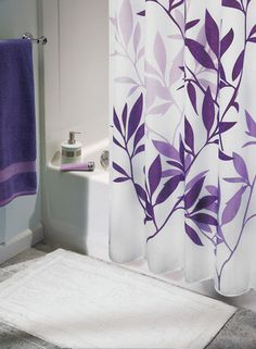 shower curtain with purple - guest bath...  id like something more floral-y but with this idea, purple on white