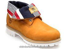 UK Timberland Men Basic Roll-Top Boot Wheat Nubuck and Stripe Fabric £ 79.19