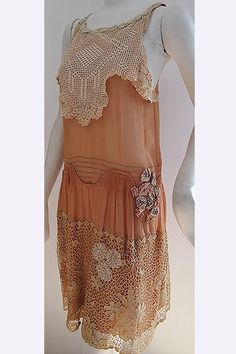 1920s Silk & Lace Flapper's Dress ~ The lace on the bodice is all hand crocheted