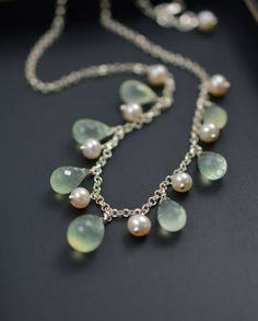 Green Prehnite Necklace in Sterling Silver with Pearls, Handcrafted Gemstone Jewelry by BlueRoomGems, $135.00