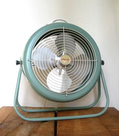 RESERVED For Camila   Vintage Floor Fan   Eldorado Working   Two Speed  Electric Fan   Robins Egg Blue   Teal Blue   Portable And Adjustable