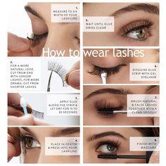 False Eyelashes Tips, Natural Fake Eyelashes, Eyelashes How To Apply, Applying False Eyelashes, Fake Lashes, Mink Eyelashes, Vaseline Eyelashes, Applying Mascara, Makeup Kit