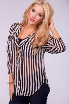 BLACK STRIPE NOTCH COLLAR POCKET CHIFFON SHEER TOP,Womens casual top on PinkBasis:Cute Tops,Casual Tops,Fashion Tops,Shirt Tops,Dress Shirt,Fashion Knit Tops,Cut Out Shirts Tops,Business Shirts,Off the Shoulder Tops,Pink,Neon,Black,White,Empire Waist Tops,Casual Tops sale