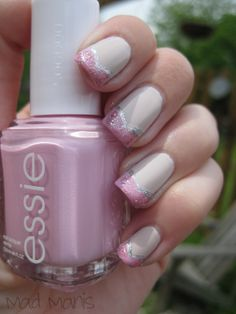Orly Pure Porcelain  Essie French Affair  OPI Teenage Dream  silver striper