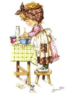 Baking a Cake Vintage Big Eyed Dollie Postcard by PrettyPostcards