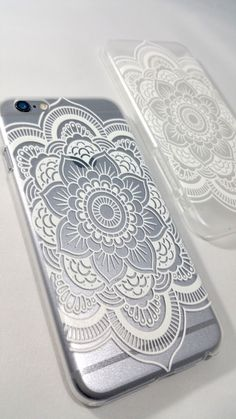 White Henna Mandala Case for iPhone and Samsung