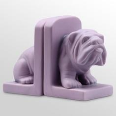 5.9 in. Bulldog Bookends - Purple