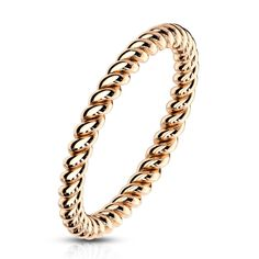 Braided Stackable Rose Gold Plated On Surgical Steel Rings - 5