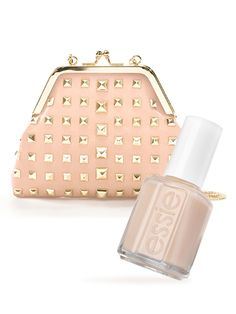 Try this nude messenger bag with an edge to pair with a matching polish. #WeddingAccessories #nude
