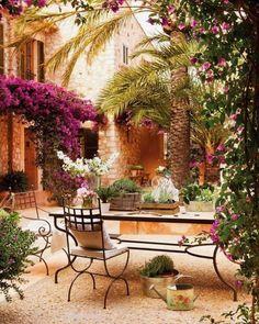 Landscape Focused: landscape, garden design ideas — Home in Mallorca. Via Dustjacket Attic. Outdoor Rooms, Outdoor Gardens, Outdoor Living, Outdoor Decor, Outdoor Patios, Outdoor Retreat, Outdoor Kitchens, Patio Interior, Spanish Style