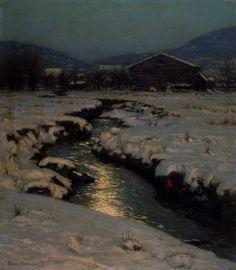 """""""Woodstock Meadows in Winter,"""" Birge Harrison, 1909, oil on canvas, 46 x 40 1/4"""", Toledo Museum of Art."""