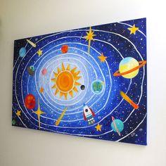 Childrens Wall Art SOLAR SYSTEM No.5 36x24 acrylic by nJoyArt
