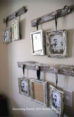 Rustic wall decor ideas to make - cute DIY idea for hanging pictures on the wall. , Rustic wall decor ideas to make - cute DIY idea for hanging pictures on the wall with old wood (pallet woods? Rustic Walls, Rustic Wall Decor, Farmhouse Decor, Country Decor, Wood Walls, Farmhouse Design, Modern Farmhouse, Wall Wood, Industrial Farmhouse
