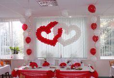Источник интернет Red Party Decorations, Wedding Balloon Decorations, Indian Wedding Decorations, Wedding Balloons, Valentine Decorations, Flower Decorations, Party Kulissen, Ganapati Decoration, Valentines Balloons