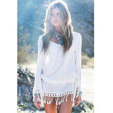 Women Long Sleeve Bohemian Tassel Chiffion Lace Tunic Beach White Mini Dress