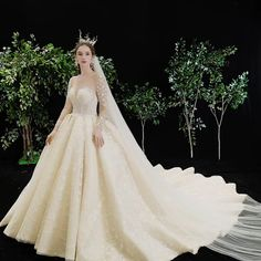 Fabulous Champagne See-through Star Wedding Dresses 2020 Ball Gown Square Neckline Long Sleeve Backless Glitter Tulle Handmade Beading Cathedral Train Ruffle Vintage Style Wedding Dresses, Top Wedding Dresses, Wedding Dress Trends, Princess Wedding Dresses, Bridal Dresses, Wedding Gowns, Wedding Hijab, Wedding Cakes, Wedding Ideas