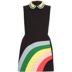 REDValentino Rainbow panel and collar dress ($743) ❤ liked on Polyvore featuring dresses, black multi, full skirt, black ruched dress, mini dress, black full skirt e black mini dress