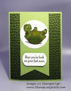 """Adorable turtle image from Stampin'Up! set """"Back On Your Feet"""".  The turtle shell is embossed in gold to look shiny wet. The StampinUp """"Hammered Metal"""" embossing folder provided the perfect background. Metal Embossing, Embossing Folder, Feet Images, Turtle Images, Blog Images, Get Well Cards, Turtles, Stampin Up, Animaux"""