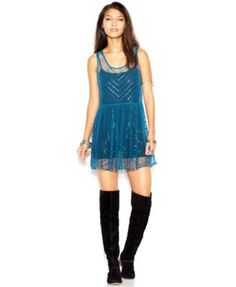 Free People Sleeveless Embellished Mini Slip Dress | macys.com