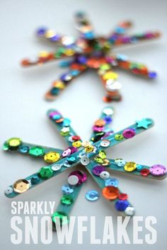 : Sparkly Snowflake Craft for Kids Crafts for Kids Snowflake Craft, Frozen Snowflake, Snowflake Shape, Snowflake Ornaments, 242, Winter Crafts For Kids, Spring Crafts, Winter Crafts For Preschoolers, Winter Preschool Crafts